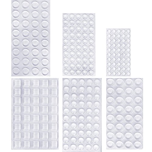 Outus 254 Pieces Clear Rubber Feet Bumper Pads Adhesive Transparent Buffer Pads Cabinet Door Bumpers Self Stick Noise Dampening Pads, 6 Sizes ()