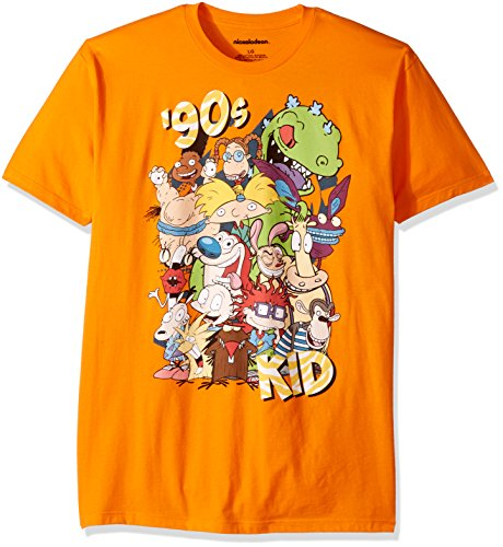 90s Nickelodeon (Nickelodeon Men's Ren and Stimpy, Rugrats and Classic Show Characters T-Shirt, Neon Orange, Large)
