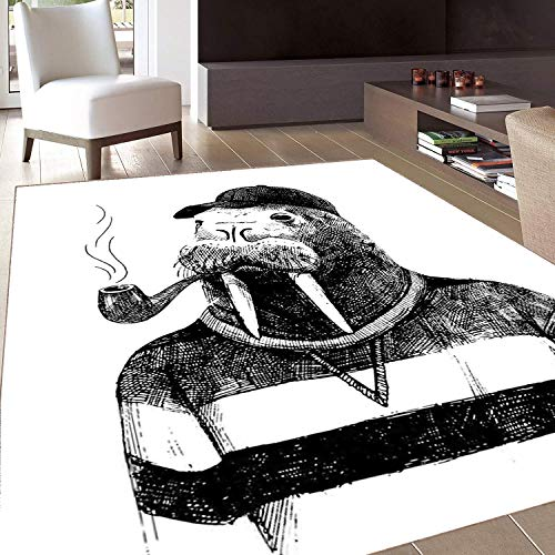 Rug,FloorMatRug,Contemporary,AreaRug,Sketch Artwork of a Walrus with a Pipe and Cap Dressed in Hipster Style,Home mat,5'8