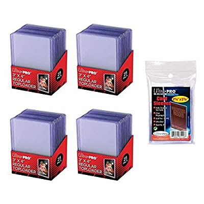 """UltraPro 3"""" x 4"""" Clear Regular Top Loaders - 100 Total + Ultra Pro Clear Soft Sleeves - 100 Total: Toys & Games"""