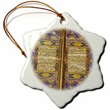 3dRose orn_162529_1 Purple and Gold Islamic Suras Decorated Quran Prayers in Arabic Text Snowflake Porcelain Ornament, 3-Inch