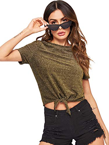 Romwe Women's Cute Knot Front Solid Ribbed Tee Crop Top T-Shirt Gold M