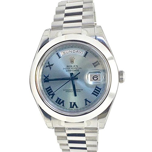 Rolex Datejust II 41mm Ice Blue Dial Platinum President Men's Watch 218206