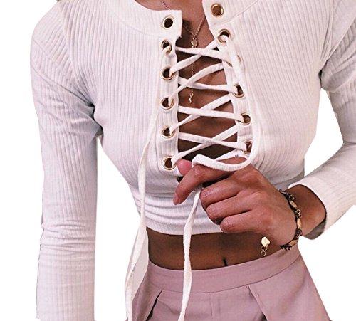 M&S&W Women Silm Fit Skinny Bandage Crop Pullover Sweatshirts White