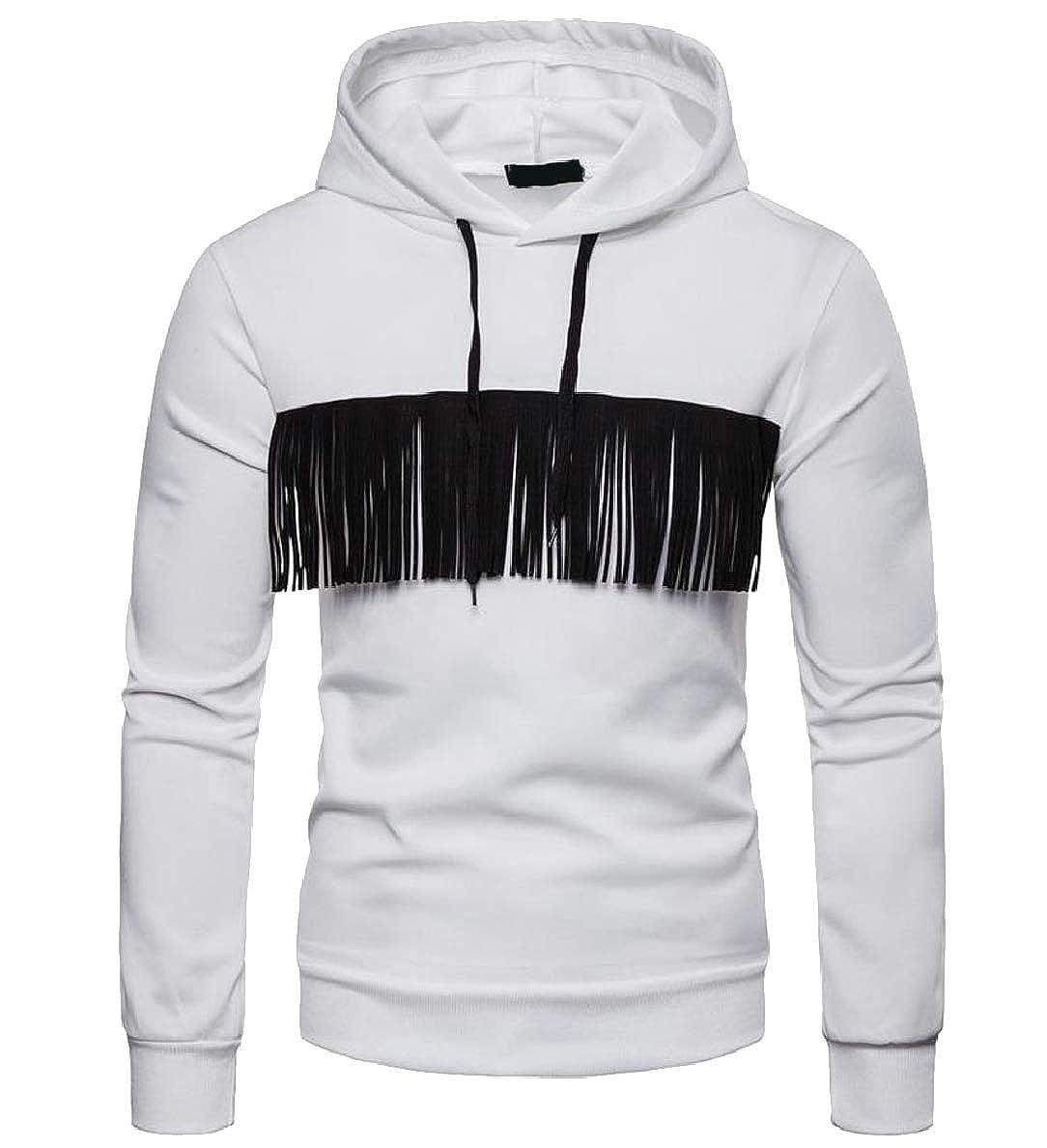 FLCH+YIGE Mens Tassel Pure Color Drawstring Hood Stylish Sweatshirt