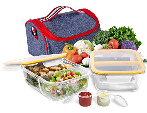 Prep Food Containers 2 Compartment Glass Containers with Lids (1040ml x 2) + Lunch Bag Meal Prep and Portion Control Lunch Box Airtight Leakproof Microwave Oven Freezer Dishwasher Safe Lunch - Safe Microwave Ovens