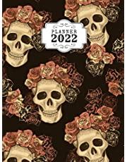 2022 Planner: Skull Notebook Daily, Weekly and Monthly Planner Journal Calendar - Journal Notebook Great Gift for Holiday, 8.25 x 11 Large