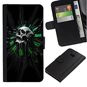 Ihec-Tech / Flip PU Cuero Cover Case para HTC One M8 - Green Sci Fi Skull