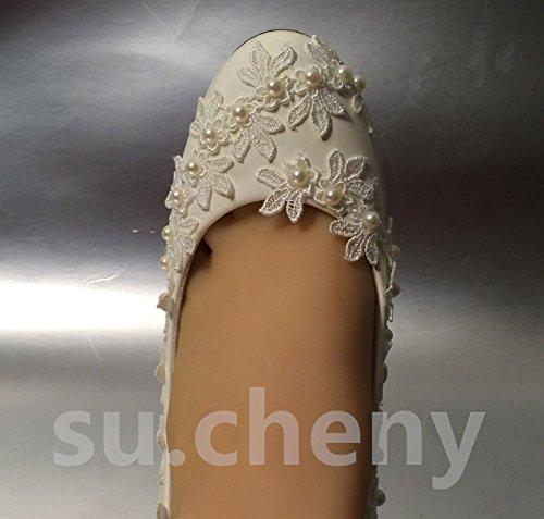 US 5 JINGXINSTORE 12 boda de marfil zapatos 5 a Cu marfil encaje novia 5 3 o Perla tama cm qqga4R