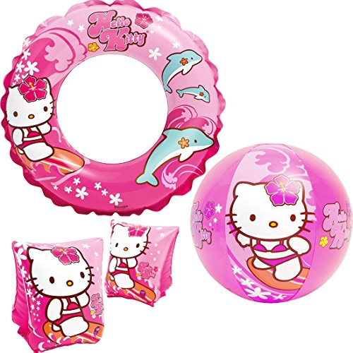 "Intex ""Hello Kitty Kids Accessories Swimming Set - Set Includes: Swim Ring (Tube), Pair of Deluxe Arm Bands Tube and Beach Ball - for Kids Ages 3-6"