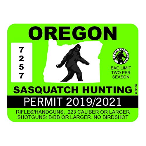 "RDW Oregon Sasquatch Hunting Permit - Color Sticker - Decal - Die Cut - Size: 4.00"" x 3.00"""