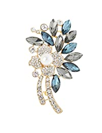 Crystal Pearl Flower Brooch Sparkly Rhinestone Party Gown Broach Pin Jewelry