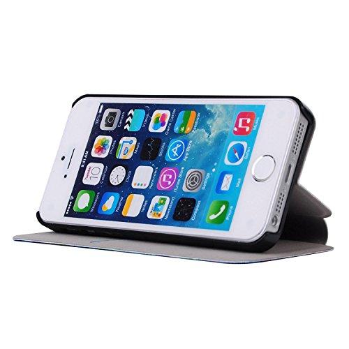 MOONCASE Apple iPhone 5 Case Printing Series Leder Tasche Flip Schutzhülle Etui Case Cover Hülle Schale für Apple iPhone 5 / 5S XA05
