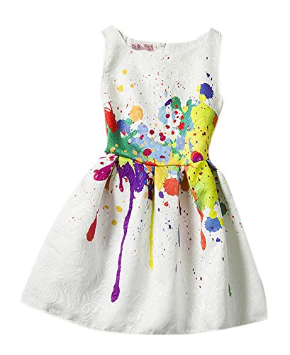 Girls Retro Swing Party Vintage Dress Sleeve Print Princess Dress 160 Style 16 (Pretty Tweens)