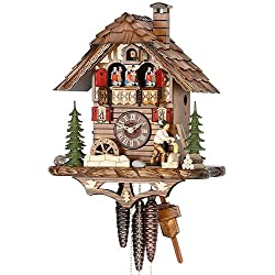 German Cuckoo Clock 1-day-movement Chalet-Style 15.00 inch - Authentic black forest cuckoo clock by Hekas