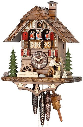 - German Cuckoo Clock 1-day-movement Chalet-Style 15.00 inch - Authentic black forest cuckoo clock by Hekas