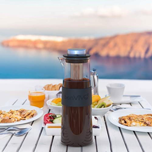 bonVIVO Frida - Cafetière pour café infusé à Froid, cafetière en Verre avec Un infuseur Permanent pour café Froid, pour Amateur de café Cold Brew - 1 Litre