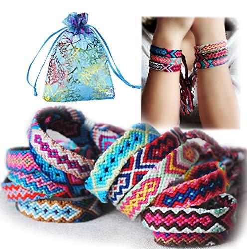 Woven Friendship Bracelets for Kids, Women, Girls, Colorful Handmade Braided Bracelet Bulk for Wrist Anklet with Gift Bags, Party Supply Favors for Birthday Bridal Shower (12 Pack Neutral Style)