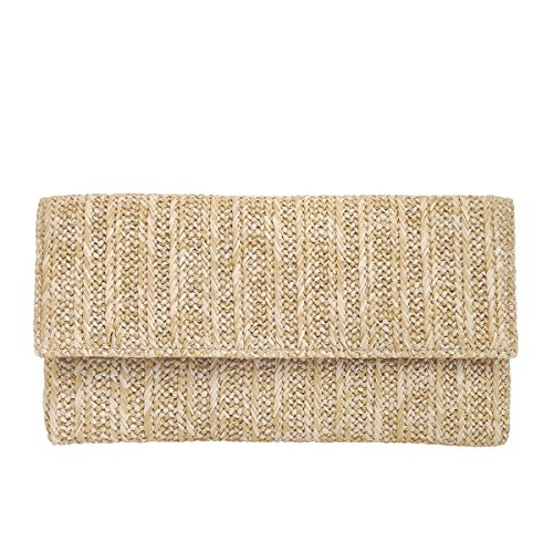 - Natural Straw Flat Clutch, Natural