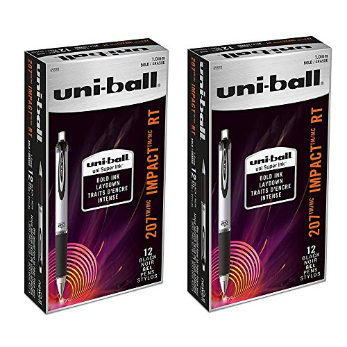 (uni-ball 207 Impact Retractable Gel Pens, Bold Point (1.0mm), Black (24) )