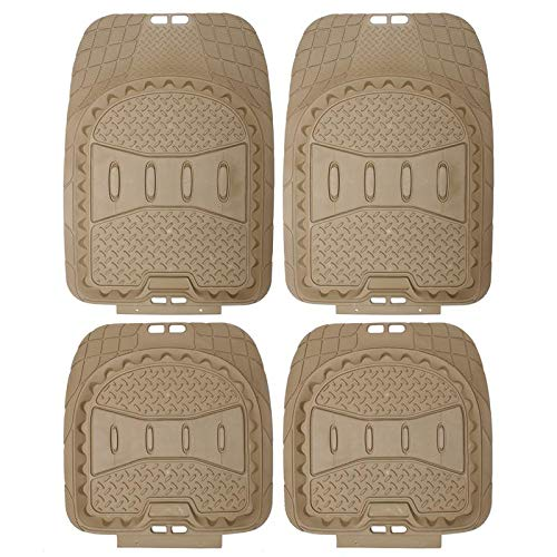 (Motorup America Auto Floor Mats (4-Piece Set) All Season Rubber - Fits Select Vehicles Car Truck Van SUV, Beige Tan)