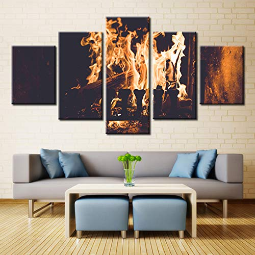sssxka 5 Pieces Indoor Electric Fireplaces Wood Burning Stoves Modern Home Wall Decor Canvas Picture Art HD Print Painting Canvas Art-20x35cmx2 20x45cmx2 20x55cmx1 (Retro Wood Burning Stove)