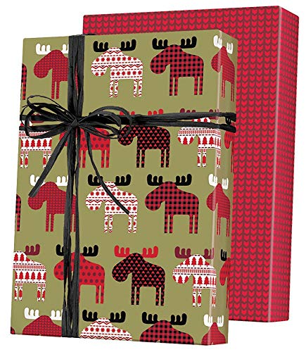 Wrapping Paper Gift Flat (Woodland Plaid Moose Reversible Holiday Gift Wrapping Paper Flat Sheet - 24
