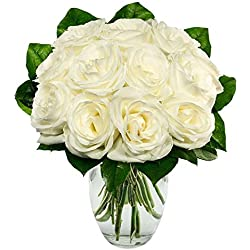 From You Flowers - One Dozen White Roses (Free Vase Included) for Valentine's Day