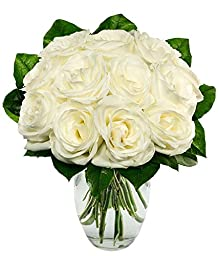 From You Flowers - One Dozen White Roses (Free Vase Included)