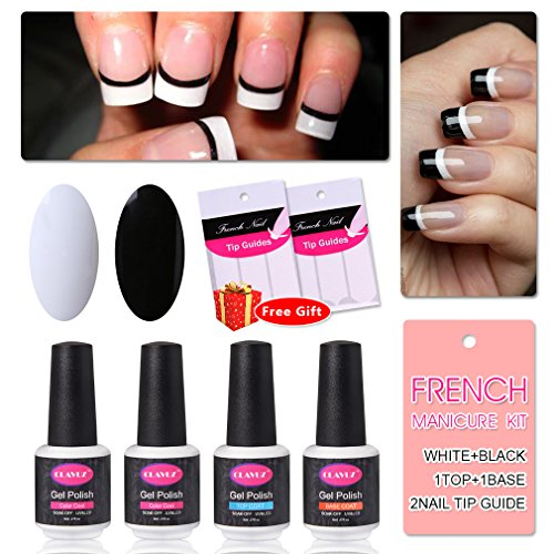 French Manicure Nail Gel Polish Top and Base Coat White Black DIY Nail Art at Home Free Nail Sticker by CLAVUZ -