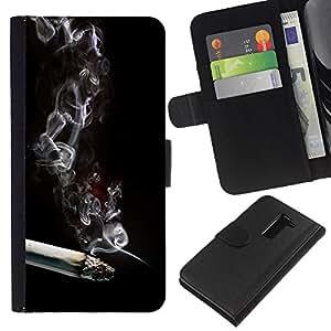 Protector de cuero de la PU de la cubierta del estilo de la carpeta del tirón BY RAYDREAMMM - LG G2 D800 - El humo del cigarrillo