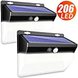 Solar Lights Outdoor, CLAONER 【206 LED/3 Modes】 Motion Sensor Lights, Wireless Outdoor Solar Lights with 270° Wide Angle IP65 Waterproof Solar Motion Light for Front Door, Yard, Garage, Fence (3600LM)