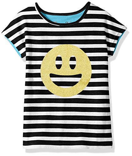Dream Star Girls' Stripe Front Tee with Glitter Screen and Solid Contrast Back