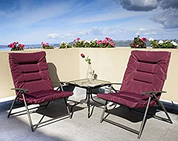 Kozyard Elsa 3 Pieces Outdoor Patio Furniture Padded Folding Bistro-Sets for Yard, Patio, Deck or Backyard Purple Red