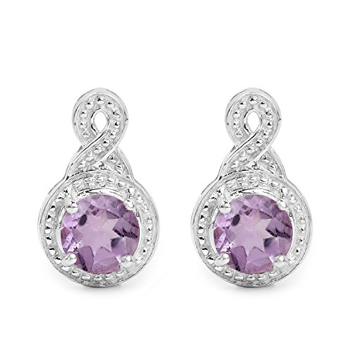 Johareez Amethyst Fancy Stud Earrings in Sterling Silver