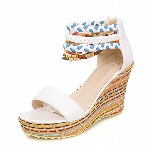 Carolbar Chic Womens Zip Fashion Braid Colorful Ankle-strap Summer Platform Wedges Sandals White MmBfCW