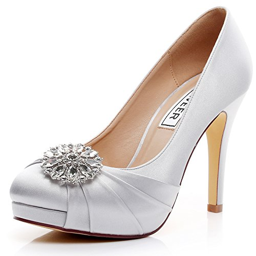 LUXVEER High Heel Women Shoes Satin Wedding Shoes Rhinestone Bridal Shoes Dress Sheos RS-9805 4.5 inch (5, Silver)