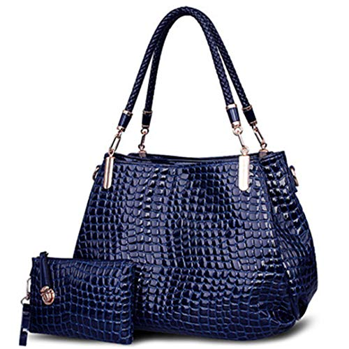 grande Sac main à Femmes Borse portefeuille à main capacité Sacs sac Totes bandoulière Lady Crocodile à Blue 6EdpzTqw