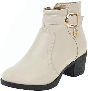 Kaiki Bottes Et Boots,Chaussures à Lacets en Cuir pour Femmes à Bout Rond en Cuir,Taille 35-43