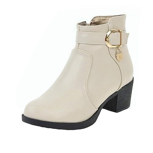 Rawdah Botas Mujer Invierno Botas de Mujer Zapatos de Cuero con Punta  Redonda para Mujer Zapatos de Cuero con Punta Ancha y tacón Cuadrado Zapatos  Mujer ... 065dd12e036bb
