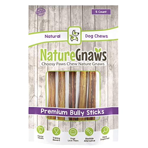 Nature Gnaws Large Bully Sticks 11-12 (5 Pack) - 100% All Natural Grass-Fed Free-Range Premium Beef Dog Chews