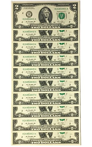 10 Consecutive Serial # US $2 DOLLAR BILLS Uncirculated in 10-Pocket - Uncirculated Coin 10