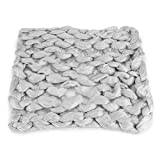 Hand Chunky Knitted Blanket Thick Merino Wool Knitting Throw Blankets Needle Felting Woolen MatHand Knotted Shag Area Rug Merino 100% Pure Wool Blanket Extreme Knitting Mat Rug(Light Grey)