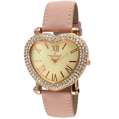 Peugeot Women's Heart Shaped Rose Gold Crystal - Watches Shaped Heart Crystal