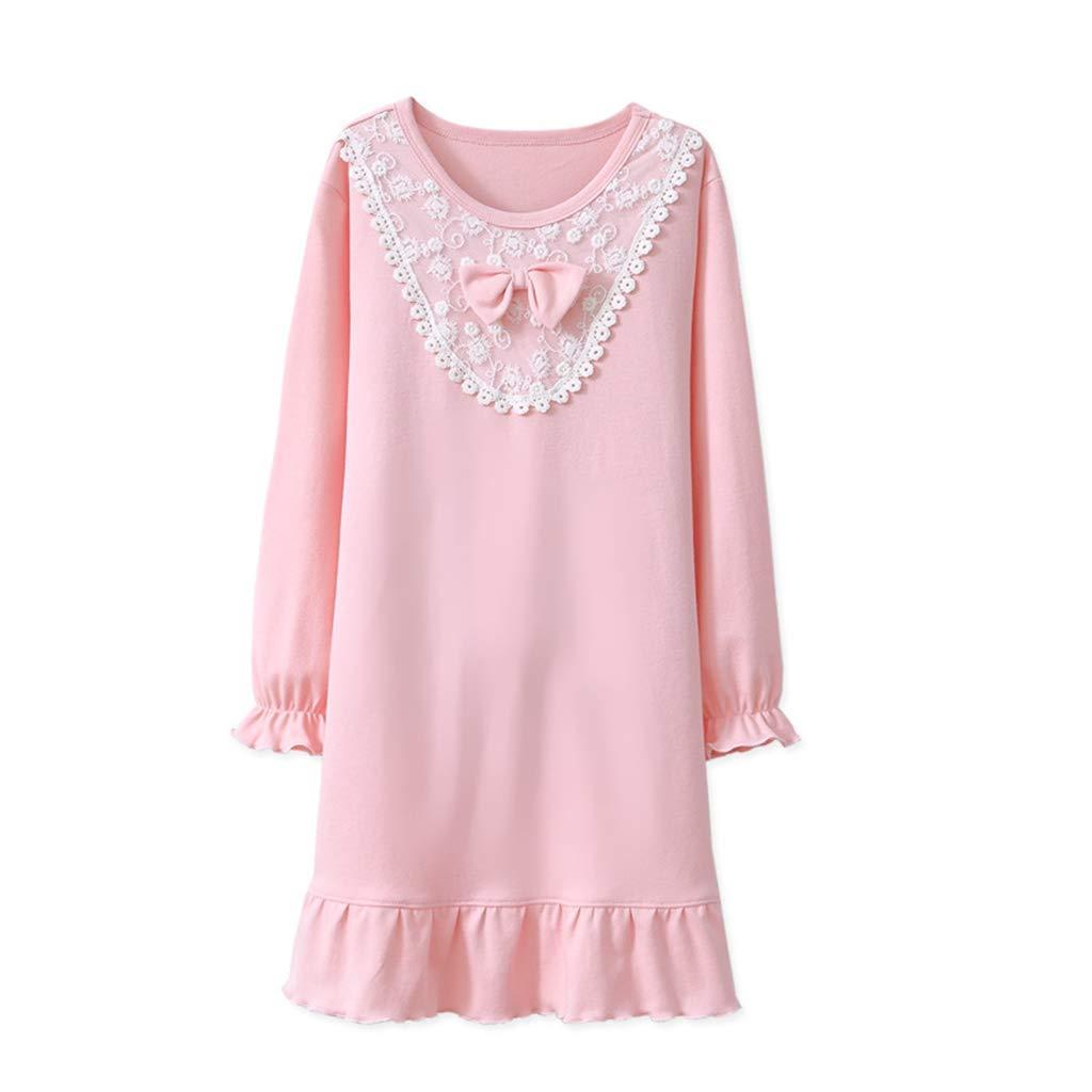 Camisón Niñas Camisones Encaje Bowknot Pijamas de Algodón de 4-8 Años: Amazon.es: Bebé