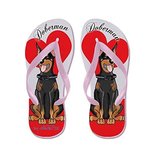 CafePress Doberman Flip Flops Red - Flip Flops, Funny Thong Sandals, Beach Sandals Pink