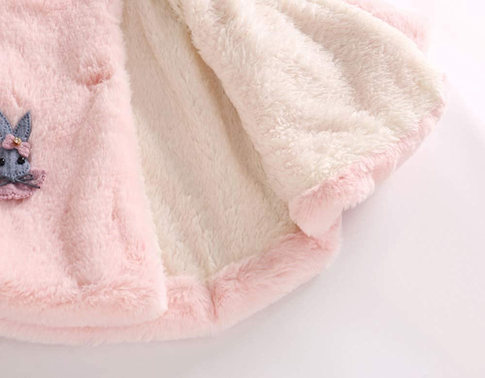 KONFA Toddler Newborn Baby Girls Cartoon Rabbit Pompom Warm Hooded Coat,Kids Jacket Cloak Tops Outerwear Winter Clothes