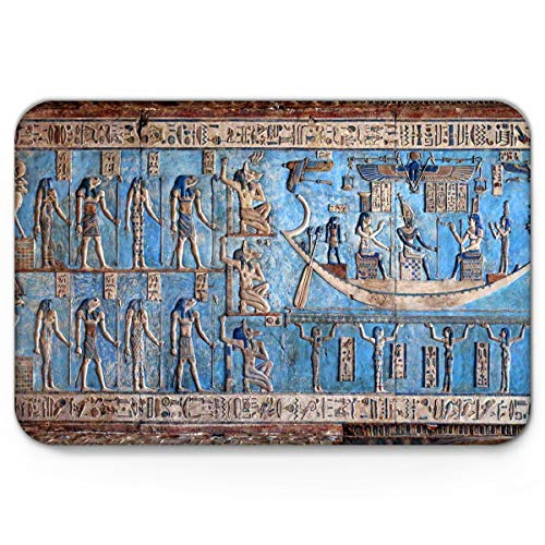 Slate Egyptian - Non Slip Doormat Welcome Door Mat Home Decor,Blue Slate of Ancient Egyptian Civilization Area Rugs,Washable Carpet for Entrance Bathroom Living Bed Room Shoes Scraper 18 x 30 inch