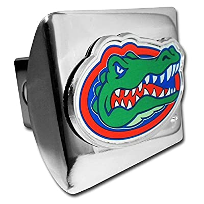 University of Florida Gators Bright Polished Chrome with Color Gator Head Emblem NCAA College Sports Trailer Hitch Cover Fits 2 Inch Auto Car Truck Receiver: Automotive