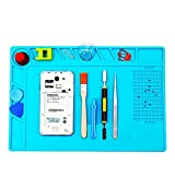 SAUNICE silicone mat soldering /Heat Insulation Silicone Pad Electrical BGA Soldering Repair Station Maintenance Platform with Screw Location Mat (Blue)